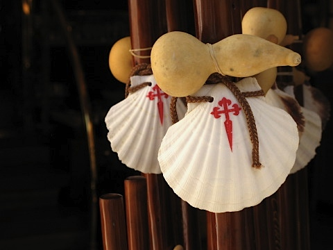 Scallop-shell-walking-sticks-available-in-Santiago